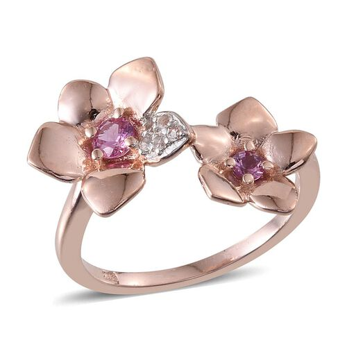 Pink Sapphire (Rnd), White Topaz Ring in Rose Gold Overlay Sterling Silver 0.500 Ct.