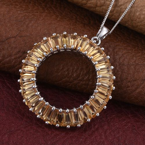 Citrine (Bgt) Circle Pendant with Chain in Platinum Overlay Sterling Silver 6.750 Ct.