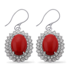 Simulated Coral, White Austrian Crystal Hook Earrings in Stainless Steel