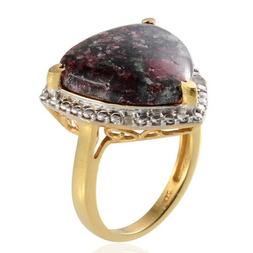 Natural Russian Eudialyte (Trl 8.00 Ct), Diamond Ring in 14K Gold Overlay Sterling Silver 8.050 Ct.
