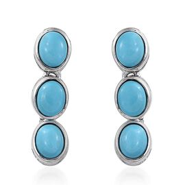 Arizona Sleeping Beauty Turquoise (Ovl) Earrings (with Push Back) in Platinum Overlay Sterling Silver 2.000 Ct.