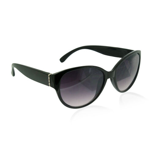 Black Frame Sunglasses with White Crystal
