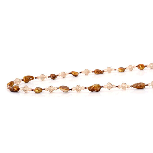 Brown Shell Pearl and Champagne Glass Necklace (Size 46)