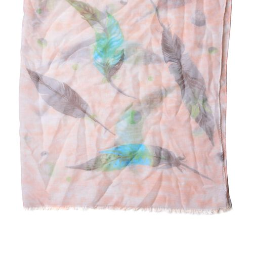 Light Orange, Blue and Green Colour Leaves Pattern White Colour Scarf (Size 180x90 Cm)
