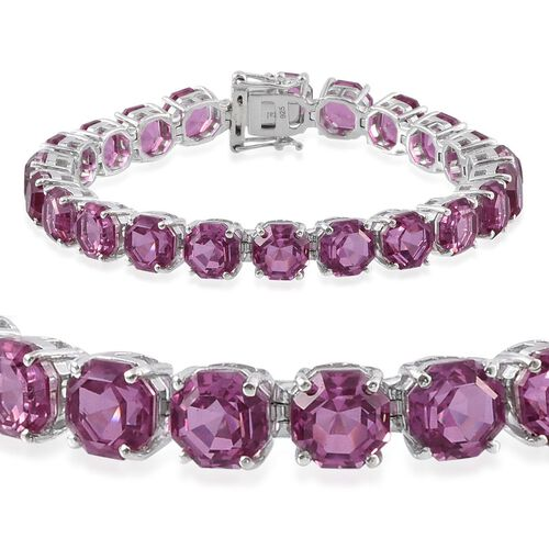 Kunzite Colour Quartz (Octillion Cut) Tennis Bracelet (Size 7.5) in Platinum Overlay Sterling Silver 54.500 Ct.