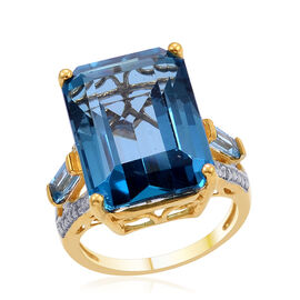 London Blue Topaz (Oct 17.00 Ct), Electric Swiss Blue Topaz and Diamond Ring in 14K Gold Overlay Sterling Silver 17.510 Ct.