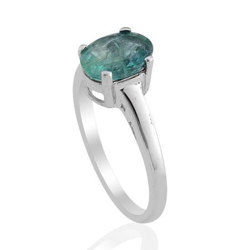 Solitaire Kagem Zambian Emerald (1.50 Ct) Platinum Overlay Sterling Silver Ring  1.500  Ct.