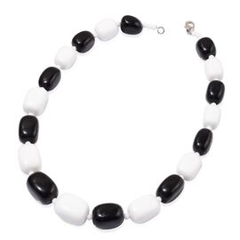 Black Obsedian and White Quartzite Necklace (Size 20) in Silver Tone 66.000 Ct.