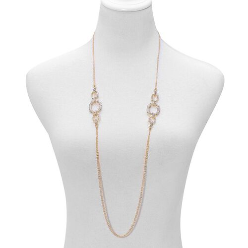 White Austrian Crystal Necklace (Size 38), Bracelet (Size 7.50) and Earrings in Gold Tone