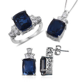 Ceylon Colour Quartz (Cush), White Topaz Ring, Pendant With Chain and Earrings (with Push Back) in Platinum Overlay Sterling Silver 21.000 Ct.