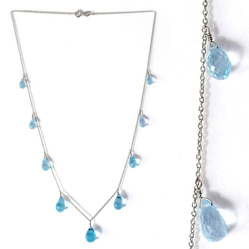 Swiss Blue Topaz Necklace in Platinum Overlay Sterling Silver 17.63 Ct.