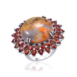 Bumble Bee Jasper (Rnd 17.25 Ct), Orange Sapphire Ring in Platinum Overlay Sterling Silver 25.250 Ct.