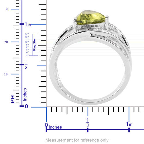 AA Hebei Peridot (Trl 1.75 Ct), White Topaz Ring in Platinum Overlay Sterling Silver 1.800 Ct.