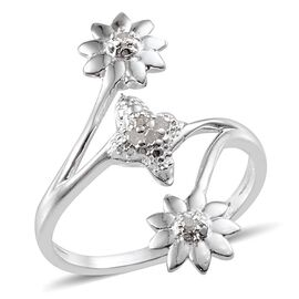 Diamond (Rnd) Floral Ring in Sterling Silver