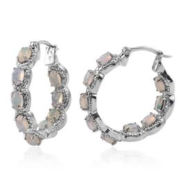Ethiopian Opal (Ovl), Diamond Hoop Earrings (with Clasp) in Platinum Overlay Sterling Silver 2.780 Ct.