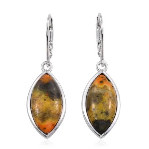 Bumble Bee Jasper (Mrq) Lever Back Earrings in Platinum Overlay Sterling Silver 12.000 Ct.