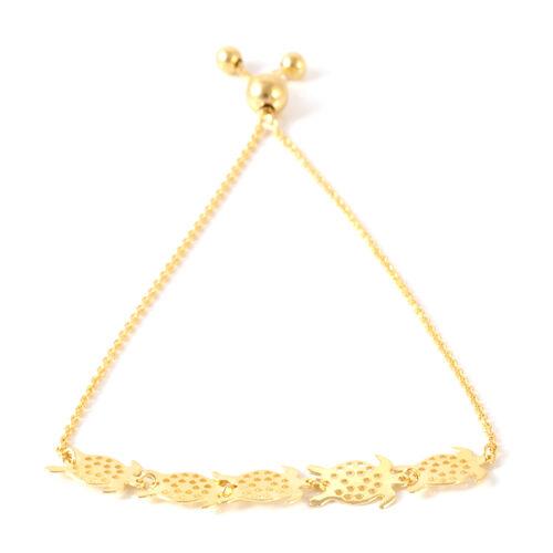 14K Gold Overlay Sterling Silver Multi Turtle Adjustable Bracelet (Size 6.5 to 8.5)
