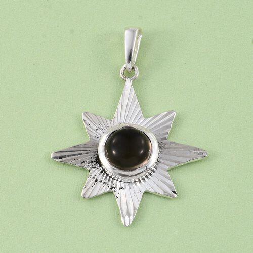 Artisan Crafted Brazilian Smoky Quartz (Rnd) Star Pendant in Sterling Silver