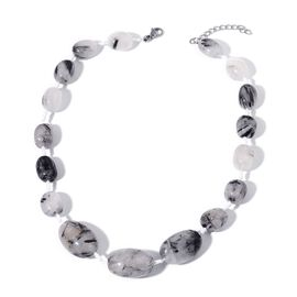 Brazilian Organic Shape Rutile Quartz Necklace (Size 18 with 2  inch Extender) in  538.000 Ct.