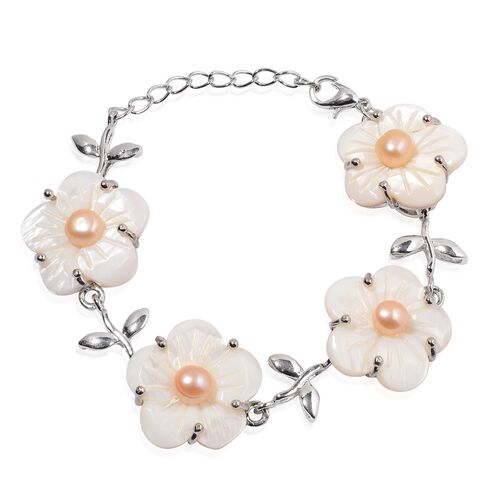 (Option 1) White Shell and Fresh Water Peach Pearl Floral Bracelet (Size 6.5) in Silver Tone