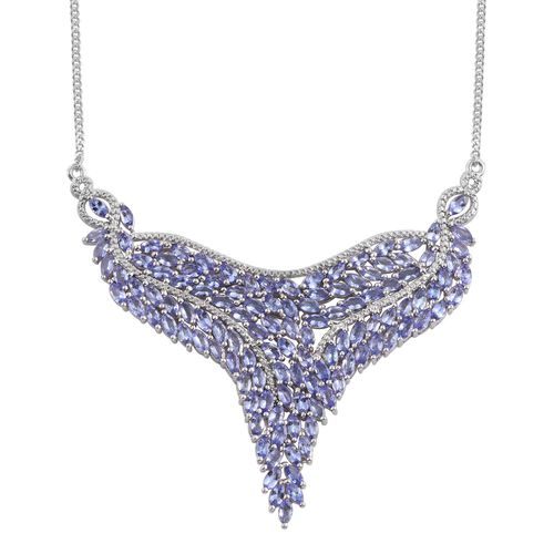Tanzanite (Mrq) Necklace (Size 18) in Platinum Overlay Sterling Silver 17.750 Ct.