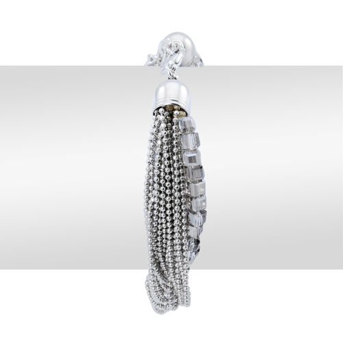 Handmade 19 Strand, Multi layer Diamond Cut Grey Beaded Chain and Cubical Glass Bracelet