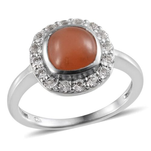 Mitiyagoda Peach Moonstone (Cush 2.50 Ct), White Topaz Ring in Platinum Overlay Sterling Silver 3.250 Ct.