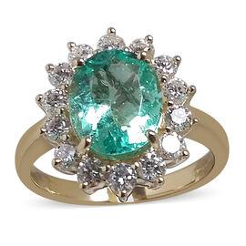 ILIANA 18K Y Gold AAAA Rare Colour Colombian Emerald (Ovl 2.13 Ct), Diamond (SI/G-H) Ring 2.880 Ct.