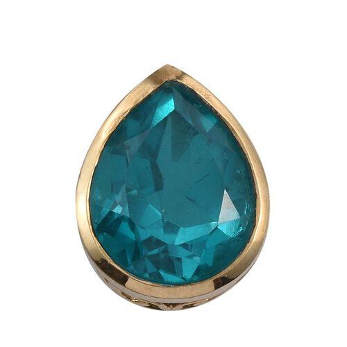 Capri Blue Quartz (Pear) Solitaire Pendant in 14K Gold Overlay Sterling Silver 5.750 Ct.