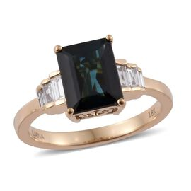 ILIANA 18K Yellow Gold 2.18 Carat AAAA Monte Belo Indicolite Ring With Side Diamond SI G-H