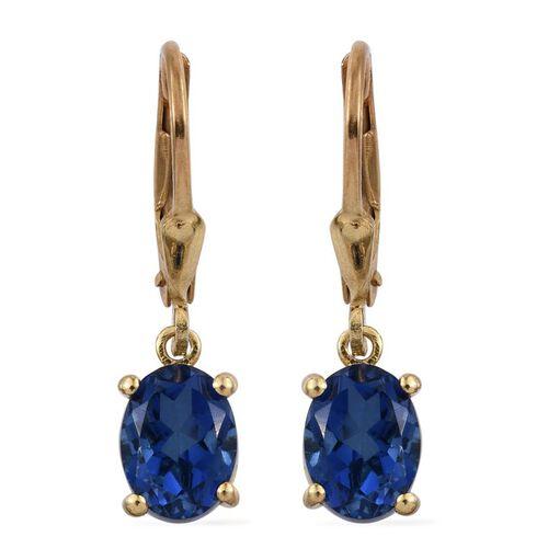 Ceylon Colour Quartz (Ovl) Lever Back Earrings in 14K Gold Overlay Sterling Silver 3.250 Ct.