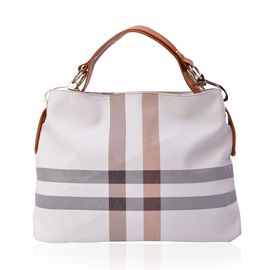 Cream Colour Checks Pattern White Colour Handbag (Size 43x32.5x12 Cm)