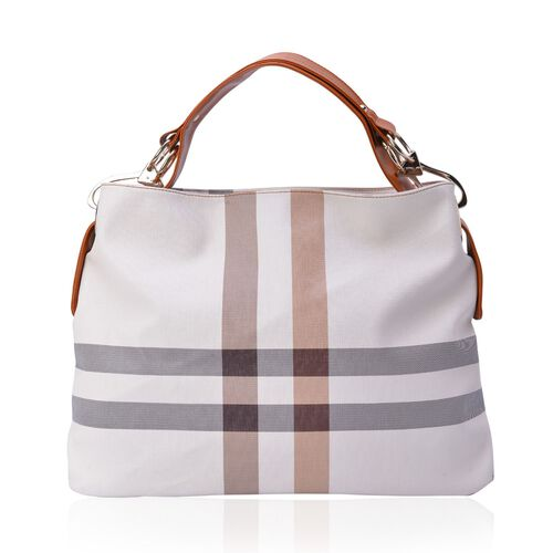 Cream Colour Checks Pattern White Colour Handbag (Size 43x32.5x12 Cm)