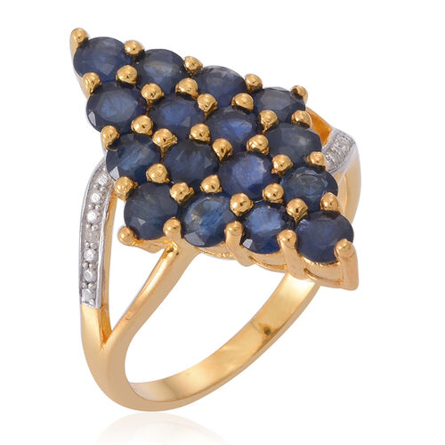 Kanchanaburi Blue Sapphire (Rnd), Natural Cambodian Zircon Ring in 14K Gold Overlay Sterling Silver 3.750 Ct.