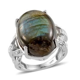 Labradorite (Ovl 17.75 Ct), White Topaz Ring in Platinum Overlay Sterling Silver 17.800 Ct.