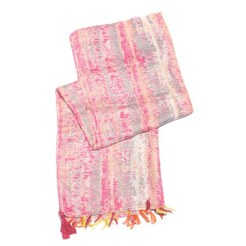 Pink, Peach and Multi Colour Scarf with Tassels (Size 180x100 Cm)