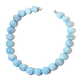 Very Rare Size AAA Espirito Santo Aquamarine Necklace (Size 20) with Magnetic Clasp in Rhodium Plated Sterling Silver 1085.00 Ct.