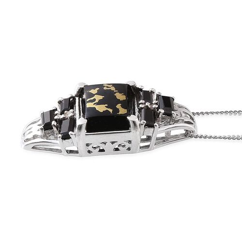 Goldenite (Bgt 3.00 Ct), Boi Ploi Black Spinel and Diamond Pendant With Chain (Size 18) in Platinum Overlay Sterling Silver 4.020 Ct.