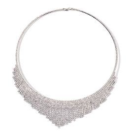 AAA White Austrian Crystal Choker Necklace (Size 18) in Silver Tone