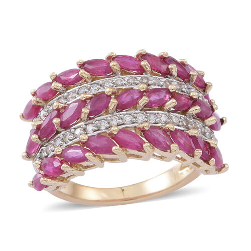 9K Y Gold Burmese Ruby (Mrq), Natural Cambodian White Zircon Ring 3.250 Ct.