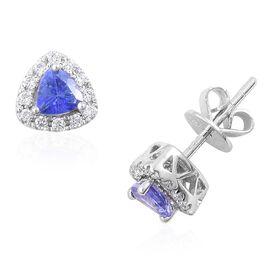 ILIANA 18K W Gold AAA Tanzanite (Trl), Diamond Stud Earrings (with Push Back) 0.750 Ct.