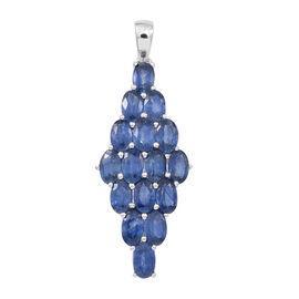 ILIANA 18K W Gold Kanchanaburi Blue Sapphire (Ovl) Cluster Pendant 5.000 Ct.
