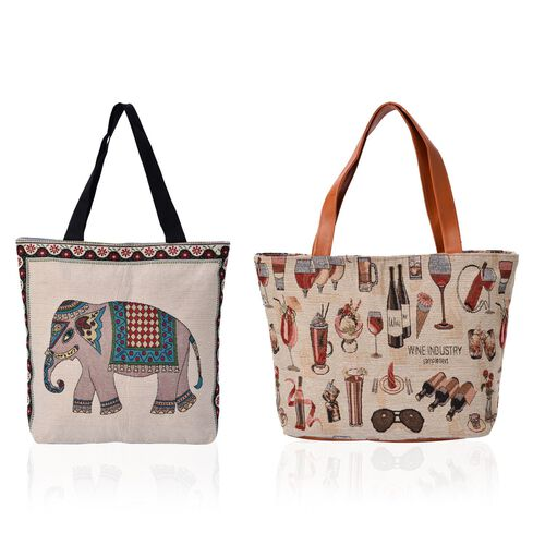 Set of 2 - Elephant, Wine Glasses, Bottels Pattern Grey, Beige and Multi Colour Handbag (Size 43x29x11 Cm)