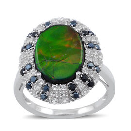Canadian Ammolite (Ovl 3.75 Ct), Boi Ploi Black Spinel and White Topaz Ring in Rhodium Plated Sterling Silver 4.750 Ct.