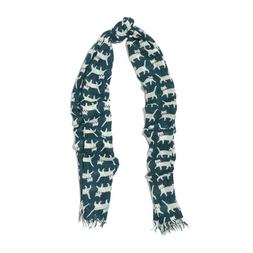 100% Merino Wool White Cat Pattern Teal Colour Scarf with Fringes (Size 180x70 Cm)