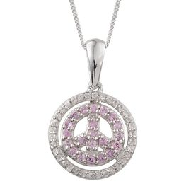 Pink Sapphire (Rnd), Natural Cambodian Zircon Symbol of Peace Pendant With Chain in Platinum Overlay Sterling Silver 0.650 Ct.