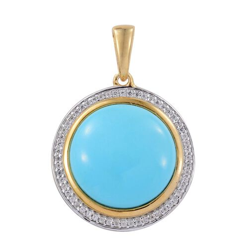 Arizona Sleeping Beauty Turquoise (Rnd), Natural Cambodian Zircon Pendant in 14K Gold Overlay Sterling Silver 12.000 Ct.