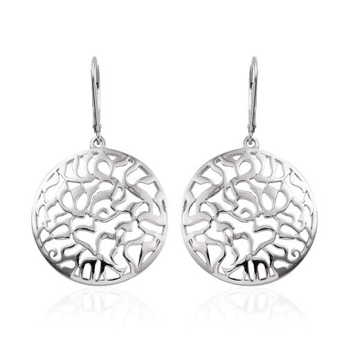 Platinum Overlay Sterling Silver Lever Back Earrings, Silver wt 6.09 Gms.