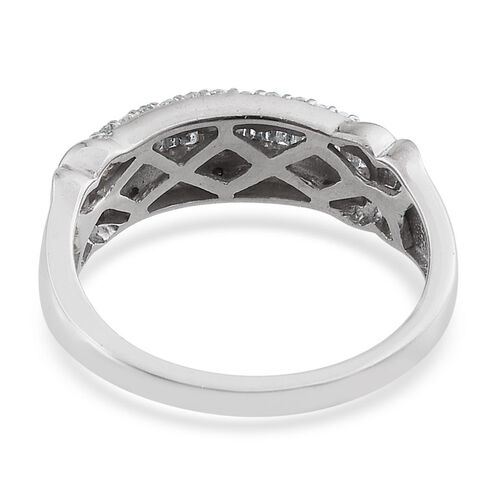 Diamond (Bgt) Ring in Platinum Overlay Sterling Silver 0.180 Ct.