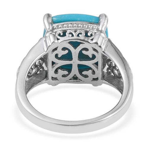 Arizona Sleeping Beauty Turquoise (Cush) Solitaire Ring in Platinum Overlay Sterling Silver 6.250 Ct.